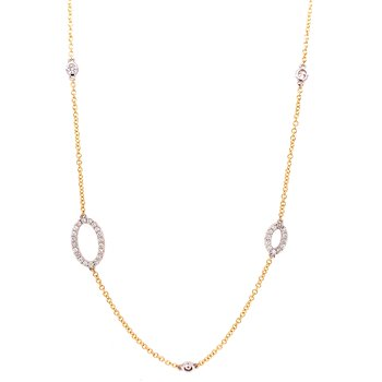 14 Karat Yellow and White Gold Alternating Oval Diamond Necklace