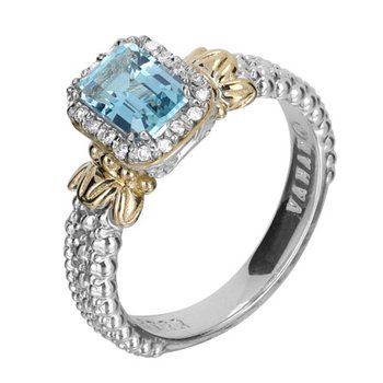 14 Karat Yellow Gold and Sterling Silver Emerald Cut Sky Blue Topaz with Diamond Halo Vahan Fashion Ring