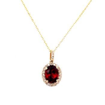 14 Karat Yellow Gold Oval Cut Garnet with Diamond Halo Fashion Necklace