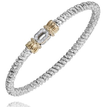 14 Karat Yellow Gold and Sterling Silver Open Diamond Geometric Shape Accent Vahan Bar Bracelet