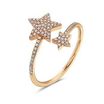 14 Karat Yellow Gold Double Diamond Star Fashion Ring