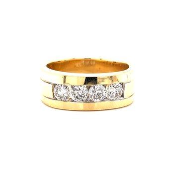 14 Karat Yellow Gold Gentlemen Channel Set Diamond Wedding Band