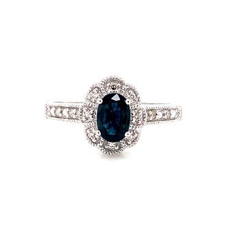 Sterling Silver and Diamond Sapphire Ring with Scalloped Halo