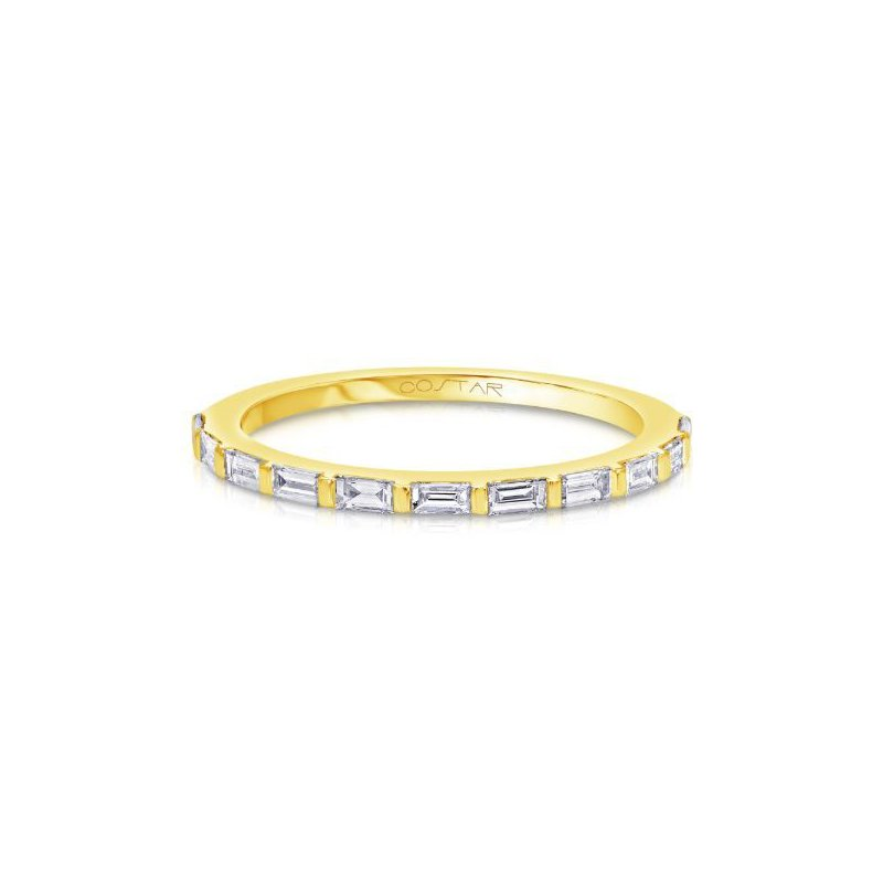 Corinth Collections  14 Karat Yellow Gold Baguette Diamond Stacker Band