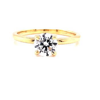 14 Karat Yellow Gold Round Brillliant  Cut Solitaire Engagement Ring with Polished Shank