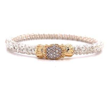 14 Karat Yellow Gold and Sterling Silver Vahan Diamond Pave Bracelet
