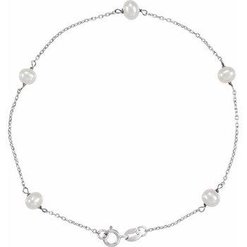 14 Karat White Gold Pearl Station Bracelet