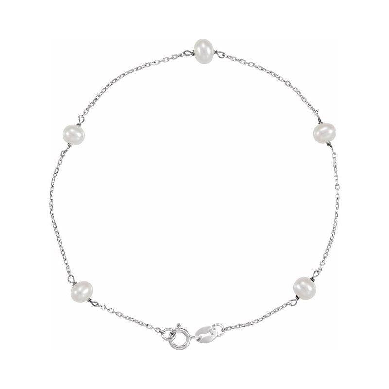 Corinth Collections  14 Karat White Gold Pearl Station Bracelet