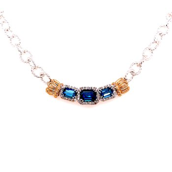 14 Karat Yellow Gold and Sterling Silver Triple Emerald Cut London Blue Topaz with Diamond Halo Necklace