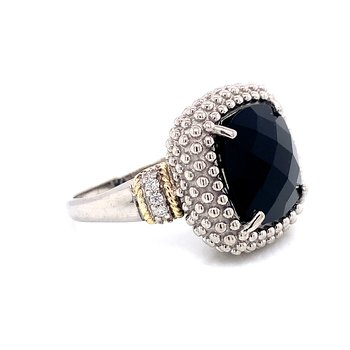 18 Karat Yellow Gold and Sterling Silver Black Onyx Beaded Fashion Ring