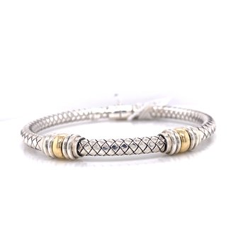 Italian Silver Hinged Cuff with 18K Yellow Gold Double Rondells