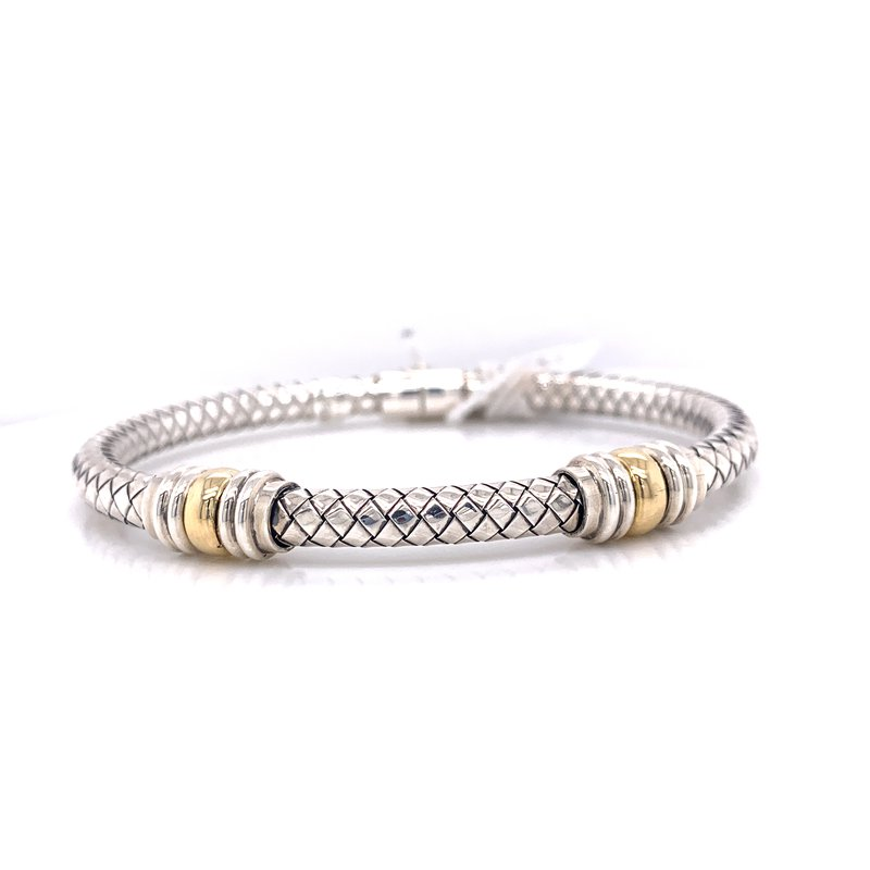 Corinth Collections  Italian Silver Hinged Cuff with 18K Yellow Gold Double Rondells