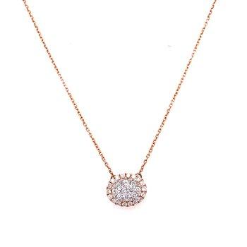 14K Rose Gold Oval Cluster Diamond Necklace
