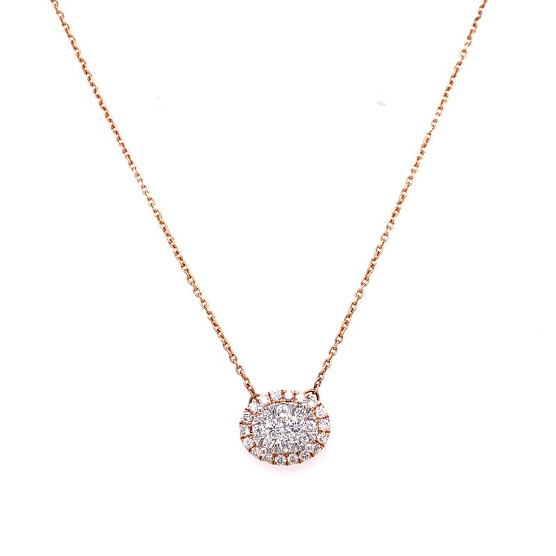 Corinth Collections  14K Rose Gold Oval Cluster Diamond Necklace