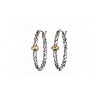 18 Karat Yellow Gold and Sterling Silver Woven Oval Hoops with Single Gold Rondell