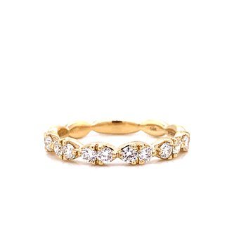 14 Karat Yellow Gold Round Diamond in a Marquis Shape Stacker Band