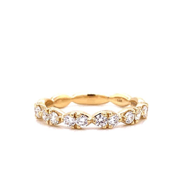 Gabriel 14 Karat Yellow Gold Round Diamond in a Marquis Shape Stacker Band