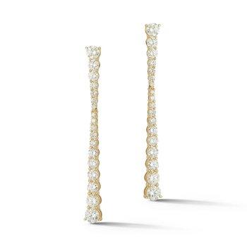 14 Karat Yellow Gold Round Diamond Dangle Fashion Earrings