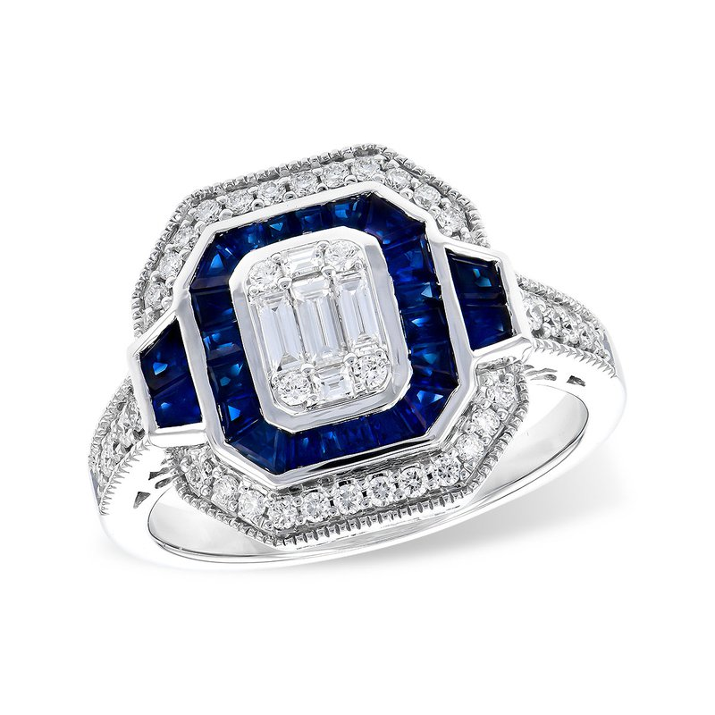 Allison-Kaufman 14 Karat White Gold Sapphire and Diamond Vintage Fashion Ring with Baugette and Round Diamonds Accented with Filigree Details