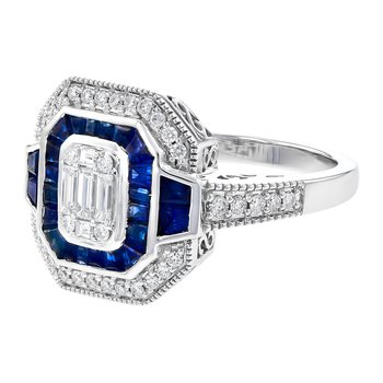 14 Karat White Gold Sapphire and Diamond Vintage Fashion Ring with Baugette and Round Diamonds Accented with Filigree Details