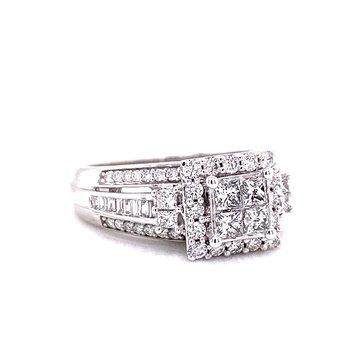 10 Karat White Gold Round and Baguette Diamond Illusion Engagement Ring