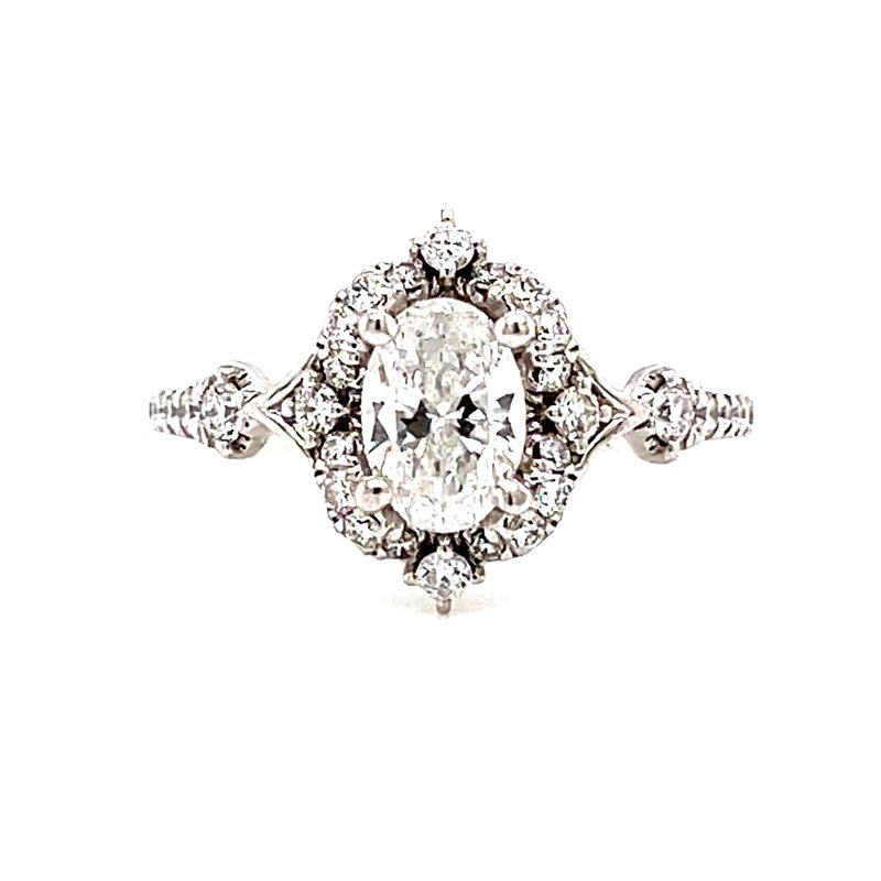 Corinth Collections  14 Karat White Gold Oval Center with Vintage Mounting with Diamond Halo