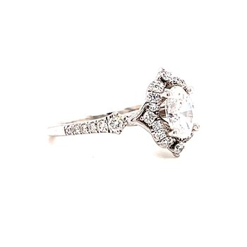 14 Karat White Gold Oval Center with Vintage Mounting with Diamond Halo