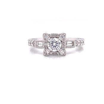 14K White Gold Round Center with Baguette Accents Engagement Ring