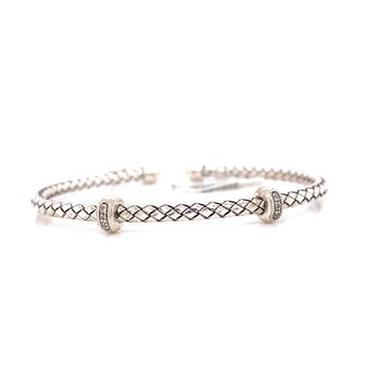 Sterling Silver Cuff with Double Diamond Rondell