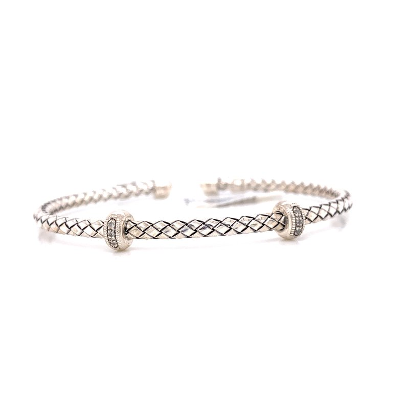 Corinth Collections  Sterling Silver Cuff with Double Diamond Rondell
