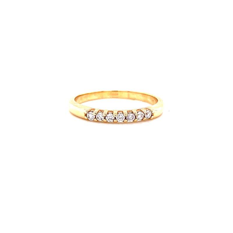 Corinth Collections  14 Karat Yellow Gold 7- Stone Round Diamond Stacker Band