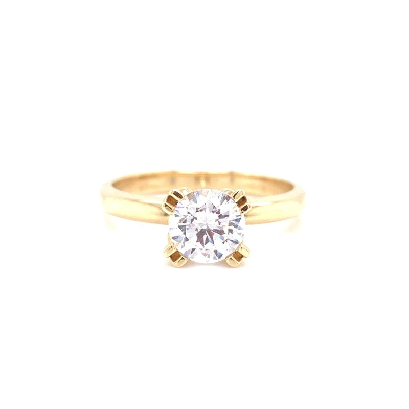Corinth Collections  14K Yellow Gold Round Solitaire with Polished Shank