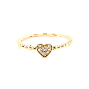 14 Karat Yellow Gold Diamond Heart Ring