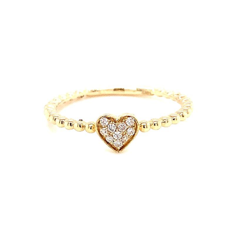 Corinth Collections  14 Karat Yellow Gold Diamond Heart Ring