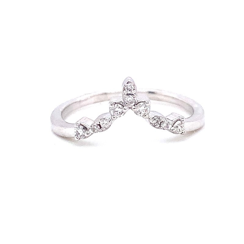 Corinth Collections  14 Karat White Gold Round Diamond Pointed Stacked Band