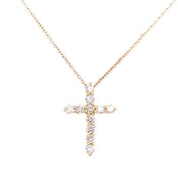 14 Karat Yellow Gold Diamond Cross Necklace