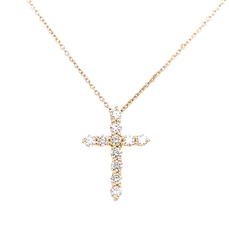 Corinth Collections  14 Karat Yellow Gold Diamond Cross Necklace