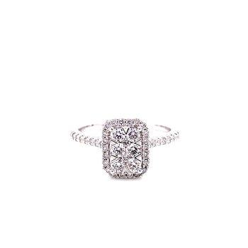 14 Karat White Gold Radiant Illusion with Diamond Halo and Diamond Shank Engagement Ring