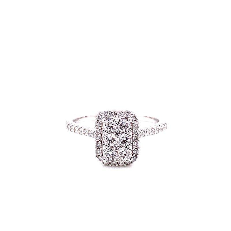 Ashi Diamonds 14 Karat White Gold Radiant Illusion with Diamond Halo and Diamond Shank Engagement Ring