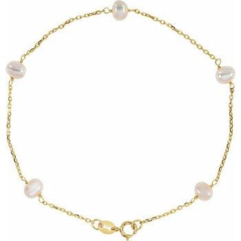 14 Karat Yellow Gold Pearl Station Bracelet