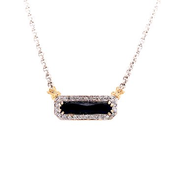 14 Karat Yellow Gold and Sterling Silver Vahan Octagon Black Onyx and Diamond Necklace
