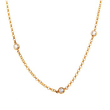 14 Karat Yellow Gold Diamonds by the Yard Necklace with Rolo Style Chain