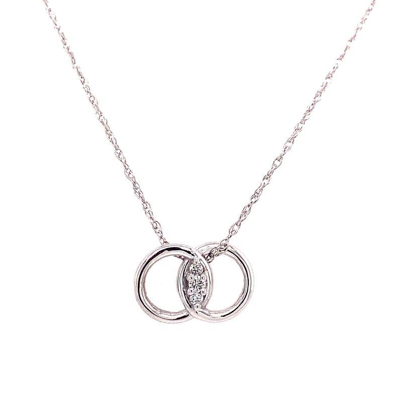 Ostbye 14 Karat White Gold Diamond Marriage Symbol Necklace