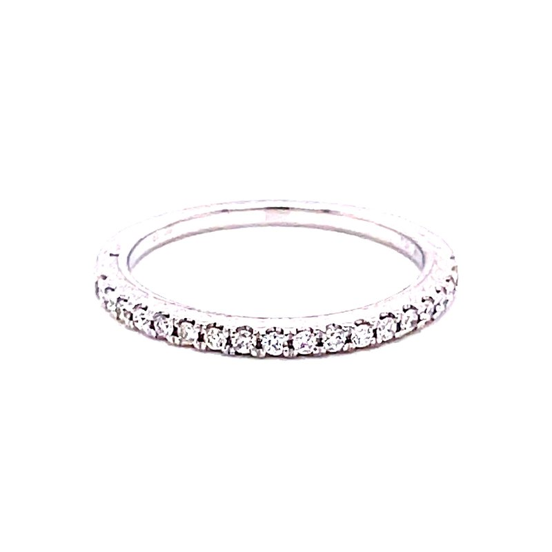 Corinth Collections  14 Karat White Gold Round Diamond Stacker Band with Milgrain Accent on Shank