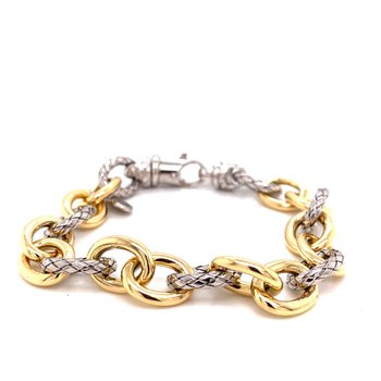 Italian Silver and 18 Karat Yellow Gold Oval Link Bracelet