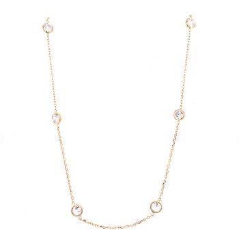 14 Karat Yellow Gold CZ Bezel Station Necklace