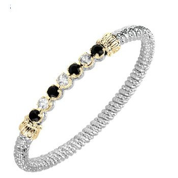 14 Karat Yellow Gold and Sterling Silver Black Onyx and CZ's Diamond Vahan Bar Bracelet