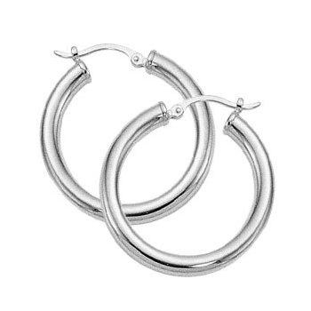 10 Karat White Gold Round Tube 3 x 25 mm Hoop Earrings