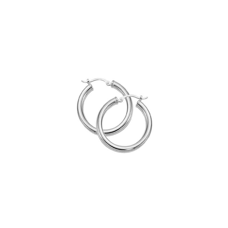 Corinth Collections  10 Karat White Gold Round Tube 3 x 25 mm Hoop Earrings