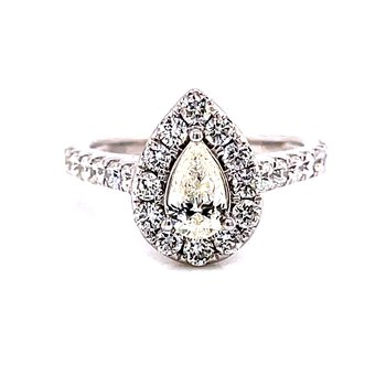 14 Karat White Gold Pear Cut Center Stone with Diamond Halo and Diamond Shank Engagement Ring with Matching Diamond Band